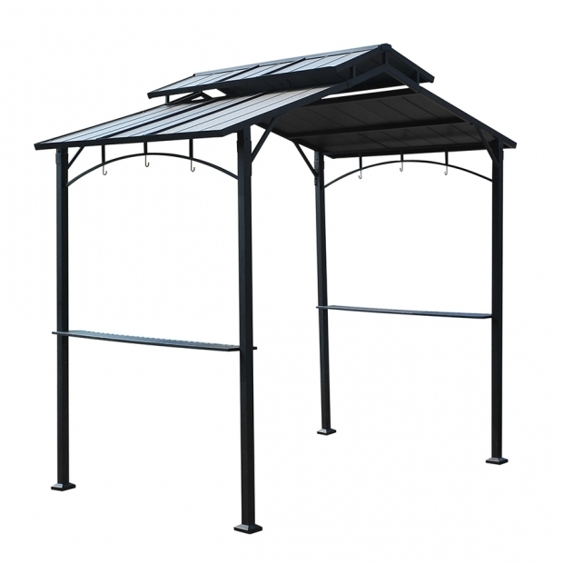 Alluring Hardtop Grill Gazebo Lowes Shop Sunjoy Black Rectangle Grill Gazebo Foundation 5 Ft X 81