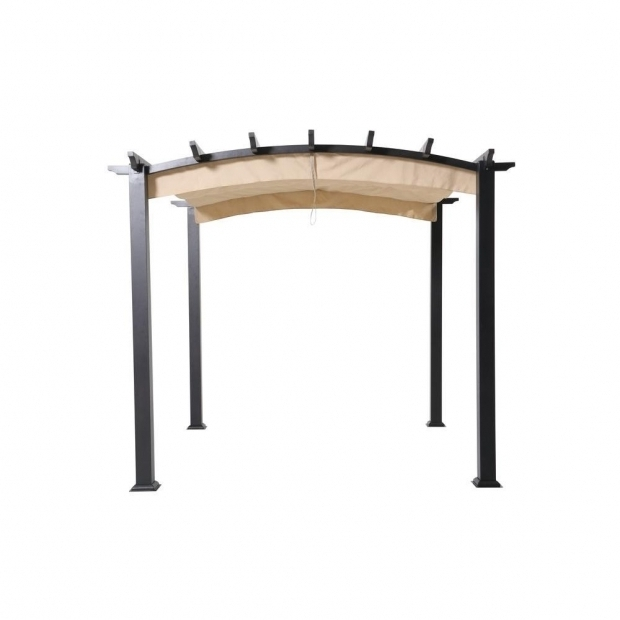 Alluring Steel Pergola With Canopy Home Depot Hampton Bay 9 Ft X 9 Ft Steel And Aluminum Arched Pergola With