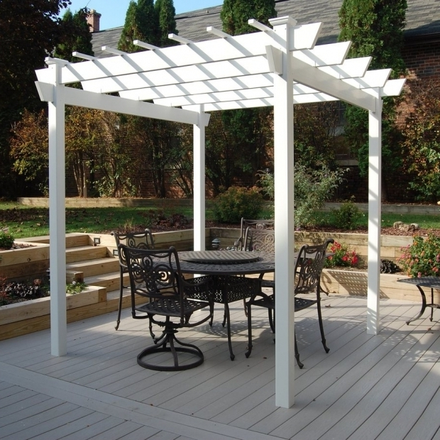 Alluring White Vinyl Pergola Shop Pergolas At Lowes