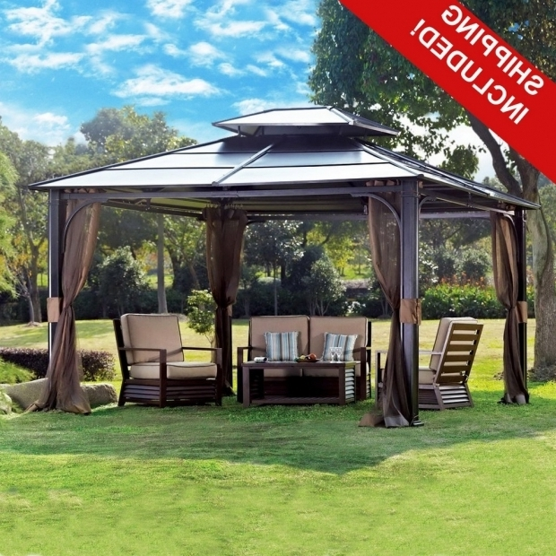 10×10 Hardtop Gazebo With Mosquito Netting