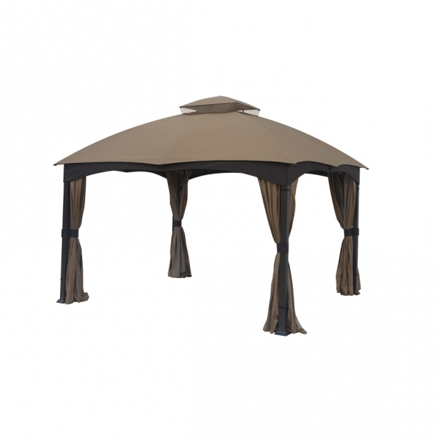 Beautiful Allen Roth 12x10 Gazebo Shop Allen Roth Brown Metal Rectangle Screened Gazebo Exterior