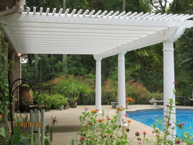 Beautiful White Vinyl Pergola Kits Low Maintenance Vinyl Pergola Kit Poolside South Carolina