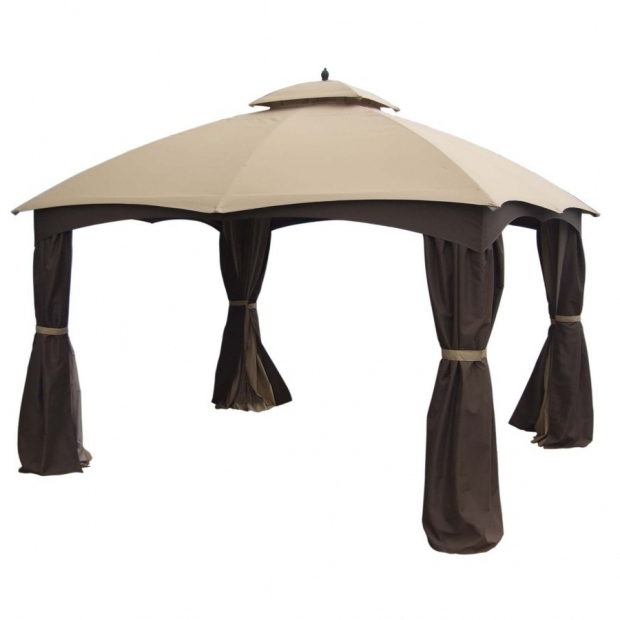 Fantastic 8x8 Gazebo Canopy Replacement Lowes Shop Allen Roth Brown Steel Rectangle Screen Included Permanent