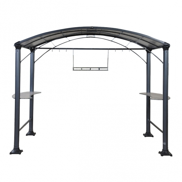 Fantastic Lowes Grill Gazebo Shop Shade Trends Grill Zebo Hammered Pewter Aluminum Rectangle