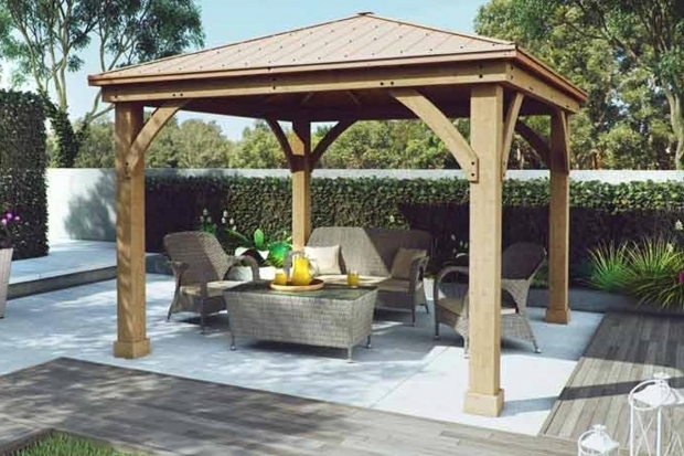 Fantastic Wood Gazebo With Aluminum Roof Yardistry Wood Gazebo With Aluminium Roof