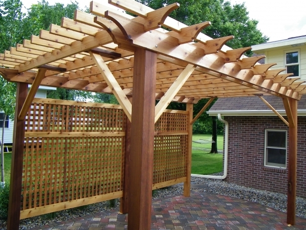 Gorgeous Cedar Pergola Kits Western Red Cedar Pergola With Privacy Lattice Minnesota