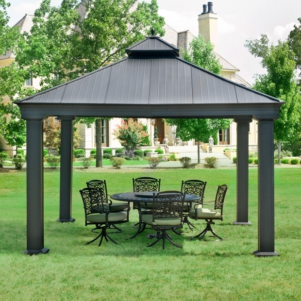 Image of Aluminum Hardtop Gazebo Garden Outdoor Screened Gazebo Hardtop Gazebo Gazebos At Lowes