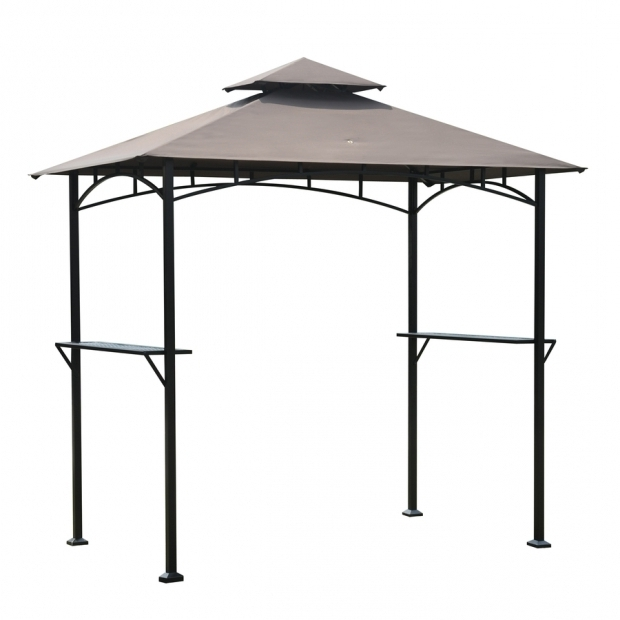Image of Lowes Grill Gazebo Shop Sunjoy Black Rectangle Grill Gazebo Foundation 498 Ft X 8