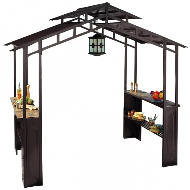 Outstanding Lowes Grill Gazebo Shop Sunjoy Black Rectangle Grill Gazebo Foundation 5 Ft X 8 Ft