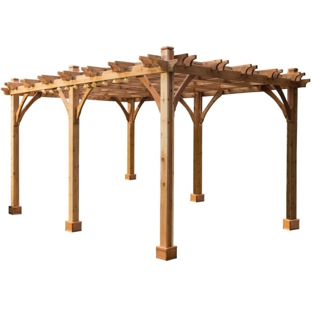 Outstanding Pergolas Home Depot Outdoor Living Today Breeze 12 Ft X 20 Ft Cedar Pergola Bz1220