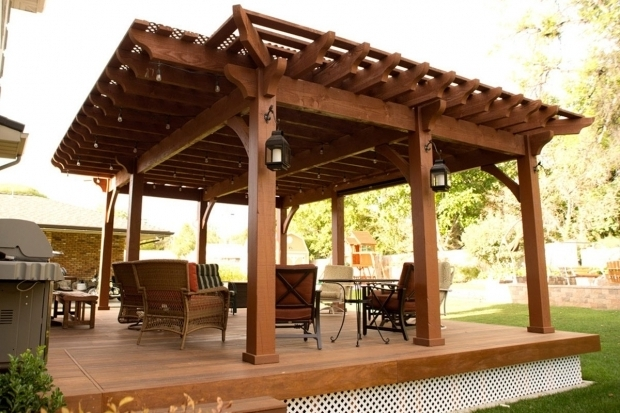 Picture of Cantilever Pergola Backyard Deck Pergola Lattice Full Wrap Cantilever Roof Western