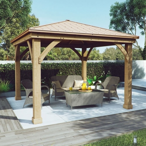 Remarkable Wood Gazebo With Aluminum Roof Yardistry Wood Gazebo With Aluminum Roof Dropress Gazebos