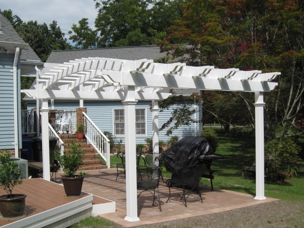 Wonderful White Vinyl Pergola Arched Low Maintenance Vinyl Pergolas Pergola Kits