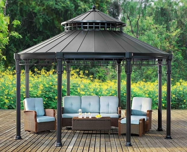 Picture of Sunjoy Royal Square Hardtop Gazebo Outdoor Sunjoy Gazebo 10 X 10 Gazebo Metal Roof Gazebo
