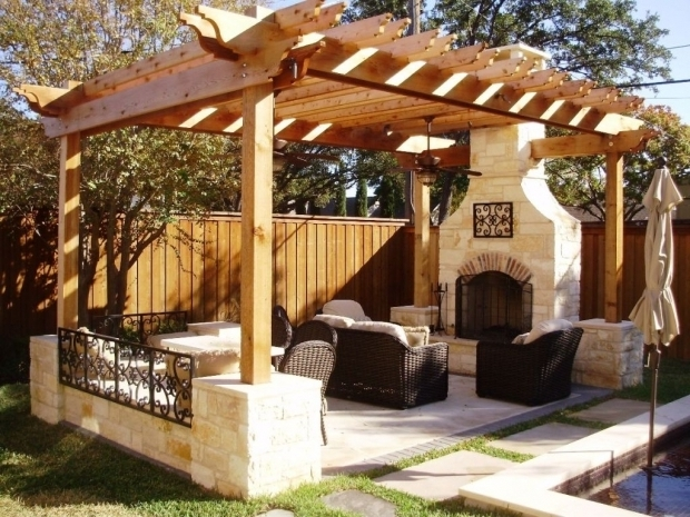Remarkable Pergola Furniture Ideas Nice Wooden Pergola With Stone Fireplace For Interesting Outdoor