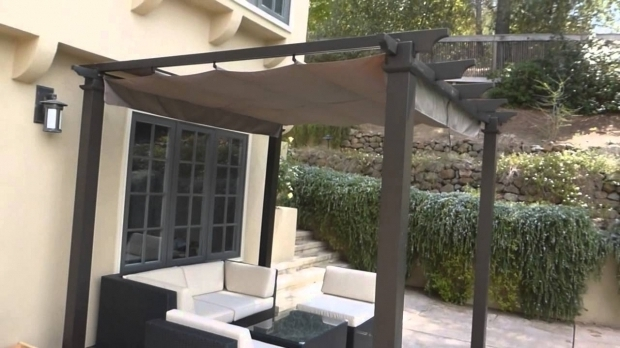 Stylish Matte Black Steel Pergola With Canopy Hampton Bay Home Depot 95 X 95 Pergola Assembly Final