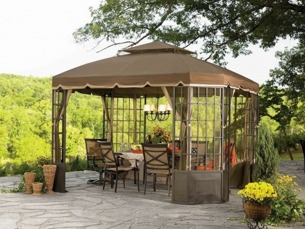 Beautiful Chandelier For Outdoor Gazebo Adorable Patio Gazebo Canopy Brown Wheather Resistant Canopy
