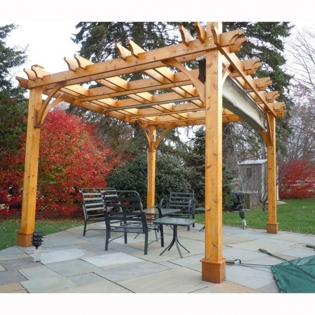 Beautiful Pergola With Retractable Canopy Outdoor Living Today Breeze Cedar 10 Ft X 12 Ft Pergola With
