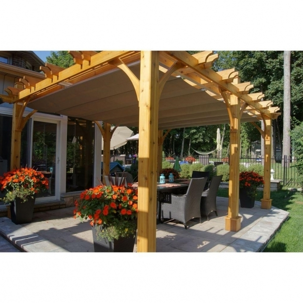 Beautiful Pergola With Retractable Canopy Outdoor Living Today Breeze Cedar 12 Ft X 16 Ft Pergola With