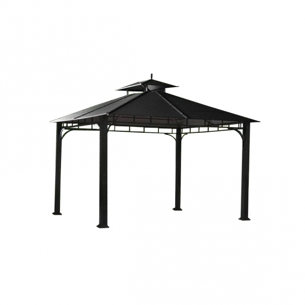 Delightful Allen Roth Hardtop Gazebo Shop Allen Roth Black Square Gazebo Foundation 10 Ft X 10 Ft