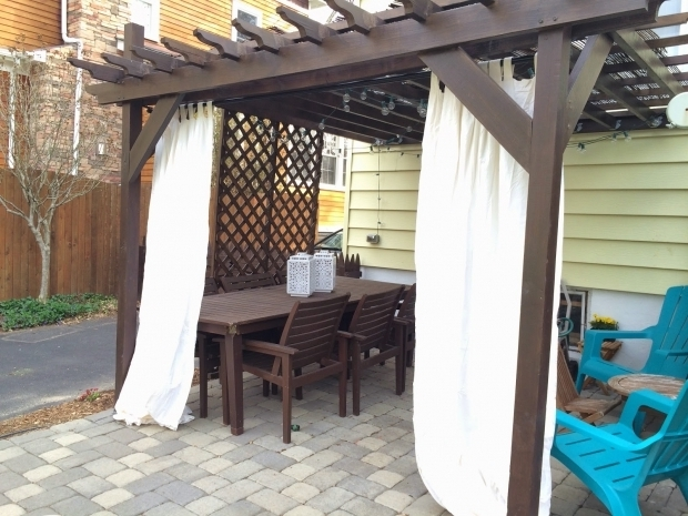 Delightful Outdoor Curtains Pergola In The Little Yellow House Pergola Curtain Update