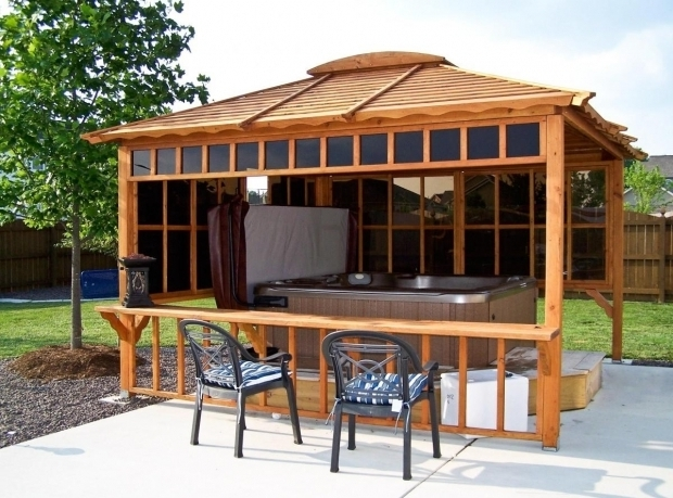 Stunning Hot Tub Gazebo Plans Hot Tub Pavilions Forever Redwood Smaller Bar No Hot Tub