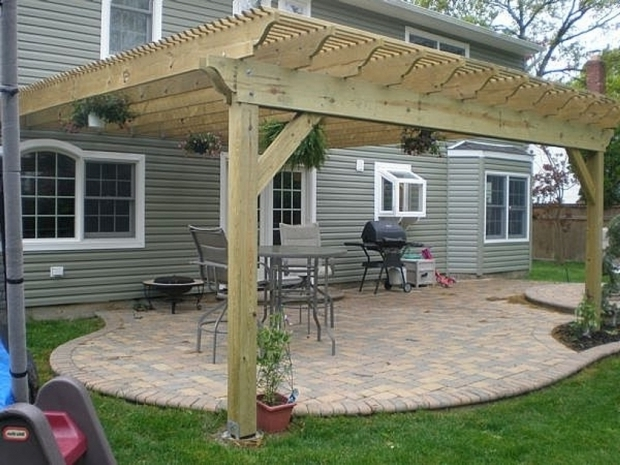 Stylish How To Build A Pergola Over A Patio Perfect Wood Designs Of Pergola  Connected To House Patio Design