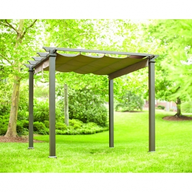 Hampton Bay Steel Pergola With Canopy Pergola Gazebo Ideas