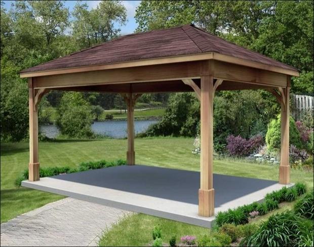 Cedar Wood Gazebo With Aluminum Roof