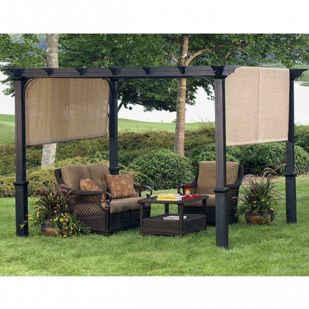 Fascinating Garden Treasures Matte Black Steel Freestanding Pergola With Canopy Shop Garden Treasures 134 In W X 134 In L X 92 In H X Matte Black