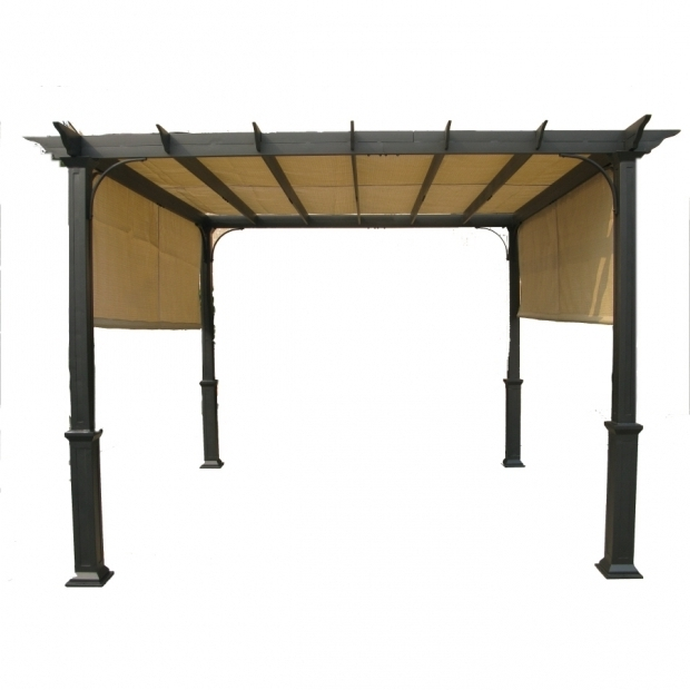 Image of Garden Treasures Matte Black Steel Freestanding Pergola With Canopy Shop Garden Treasures Matte Black Powder Coated Frame Steel