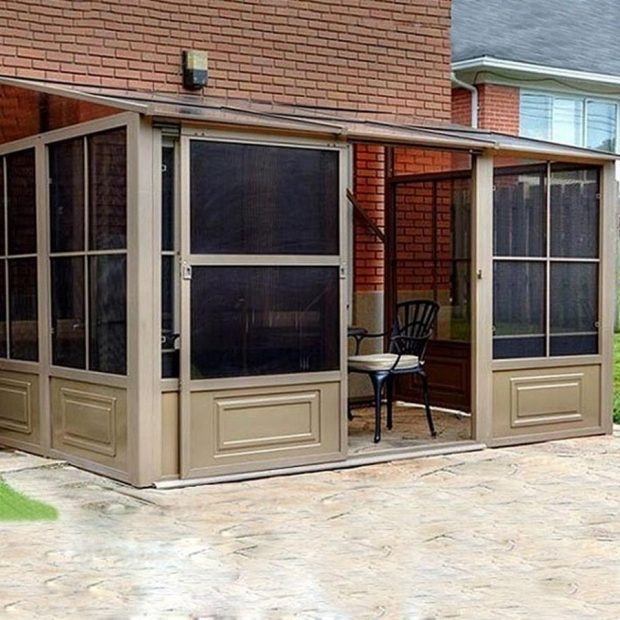 Image of Gazebo Penguin Add A Room Shop Gazebo Penguin Add A Room Brown Aluminum Rectangle Screened