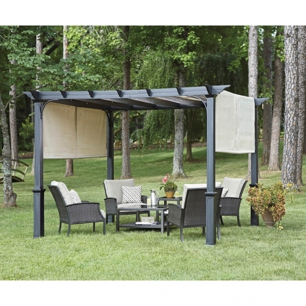 Inspiring Garden Treasures Matte Black Steel Freestanding Pergola With Canopy Shop Garden Treasures 76 Ft X 10 Ft X 10 Ft Matte Black Powder