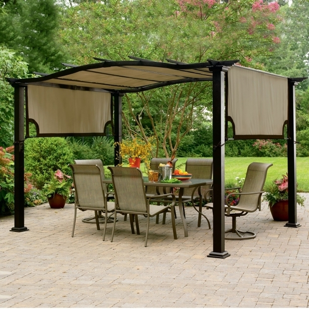 Picture of Garden Treasures Matte Black Steel Freestanding Pergola With Canopy Garden Treasures Pergola House Designs