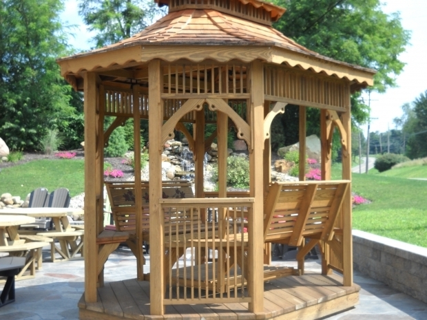 Fascinating Gazebo With Swings Octagon Tea House Gazebo With Benches Swing Gazebos Overstock