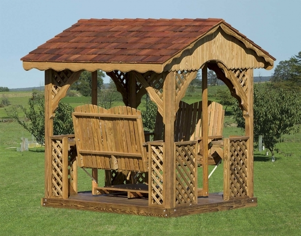 Fascinating Gazebo With Swings Treated Pine Gable Roof Rectangle Gazebo Swings Gazebo Swings