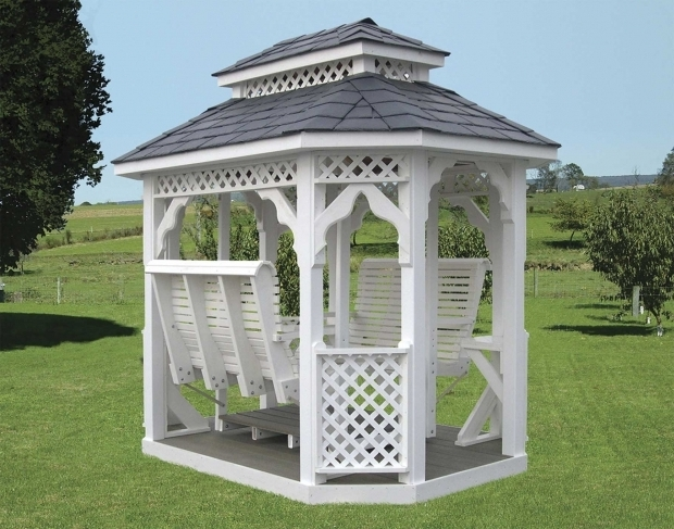 Remarkable Gazebo With Swings Vinyl Double Roof Oval Gazebo Swings Gazebo Swings