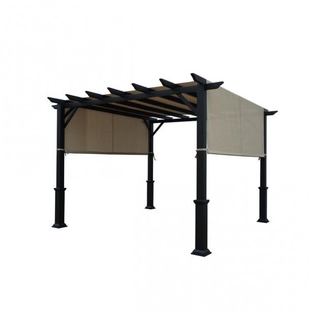 Matte Black Steel Pergola With Canopy